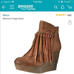 Fringe and chain wedge bootie